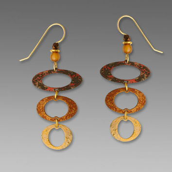 Adajio Earrings - Three-Part Open Ovals in Shades of Brown