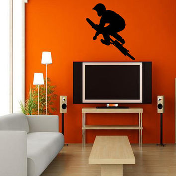 Housewares Wall Vinyl Decal Any Room Bike Sport Jumping Bicycle Cycle Mural Sticker V144