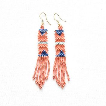 Coral Petite Fringe Seed Bead Earring