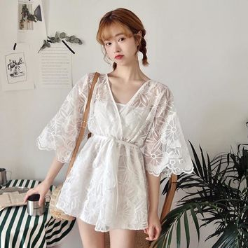 2018 Summer New super fairy sexy perspective hollow V-neck gauze waist was thin straps shorts + wrapped chest Two Piece Set