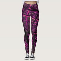 Purple and pink abstract pattern leggings