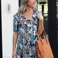 Paisley Print Shift Dress - Veronica M Shift Dress in Leslie Print - $86.00 | Hand In Pocket Boutique