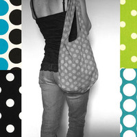 Mom Bag Over Shoulder Purse. Polka Dot Bag. Mix n Match Circles Chevron and Solids. Bold Colors Lime Green Turquoise Blue Black