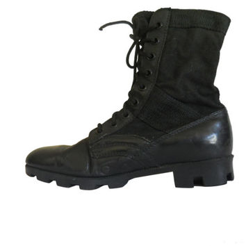 Black Combat Boot Men Grunge Military Boot Army Boot Work Boot Men Boot Size 8 Gothic Boot 90s Goth Boot Black Leather Boot Black Lace Up