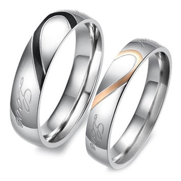 Heart Shape Matching Titanium Promise Ring for Couple 316L Stainless Steel Wedding Bands Rings [7982891207]