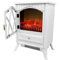 "AKDY 16"" Retro-Style Floor Freestanding Vintage Electric Stove Heater Fireplace AK-ND-18D2P (Pure White)"