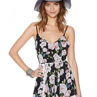 Floral Print Playsuit With Embroidery Petal Hem