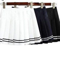 New Arrivals Women's AA style Pleated Bust Skirt Mini High waist preppy style skirts black and white cute short skirts S M L