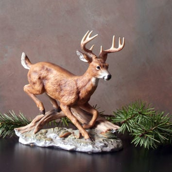 Masterpiece Porcelain by Homco Deer Figurine, Buck, 1986, White Tail Deer Figurine, Woodland, by Artist Tamiki Mizuno