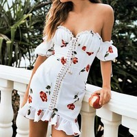 White Elegant Boho Dresses For Women Chiffon Off Shoulder Sexy Party Bodycon Sundress Lace Up Bandage Dresses