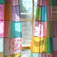 Patchwork Curtains Set of 2 Panels Boho Window Treatment Bohemian Curtain Hippie Cottage Chic Decor Shabby Chic Colorful Kids Curtain