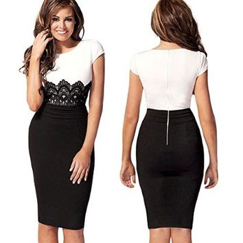 New Fashion Womens Empire Vintage Crochet Lace Square Neck Bodycon Fitted Shift Party Pencil Dress (M)