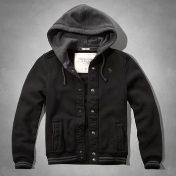 Iconic Hooded Baseball Jacket from Abercrombie &amp Fitch | Spring