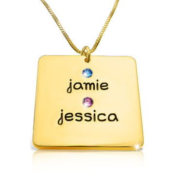 Jessica Alba Necklace In Gold Mother Necklace With Kids Names Mother Necklace With Birthstones Jessica Alba style Engraved Name Tag Family