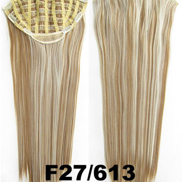 Bath & Beauty 7 Clip in Elastic Cap Wig Straight hair synthetic hair extension hairpieces wavy slice curly hairpiece SCH-666 F27/613,Hair Care,fashion Cosplay ombre 1PCS