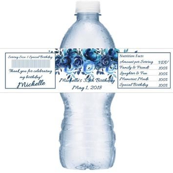 21 Navy Blue Indigo Birthday Party Water Labels