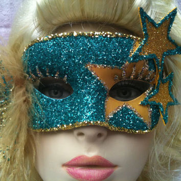 She's A Star - Turquoise and Gold Masquerade Mask with Gold Feather Shoulder Boa