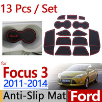 for Ford Focus 3 2011-2014 Anti-Slip Rubber Cup Cushion Door Groove Mat 11pcs/set MK3 2012 2013 Accessories Car Styling Sticker