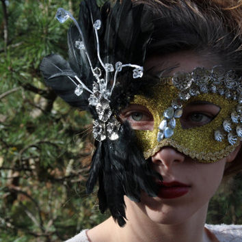 Gold Masquerade Ball Mask Masquerade mask Black Feather mask gold costume mask Halloween theatre prop mask bridal mask Ready to ship PLUME
