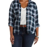 Plus Size Green Combo Plaid Button-Up Top by Charlotte Russe