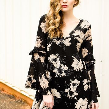 Black Bell sleeve Floral Dress