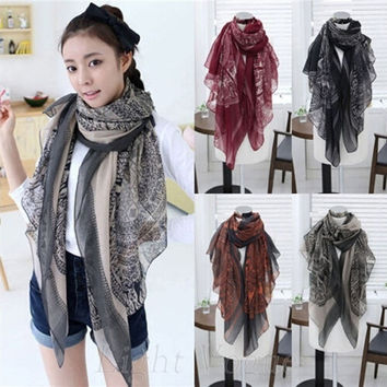 Fashion Women Scarves Long Soft Print Voile Scarves Large Wrap Scarf = 1957826244