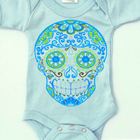 Boy Clothes Mustache Skull bodysuit. Newborn, 3, 6, 9, 12 18 months Trendy baby clothes. Light Blue Cotton creeper