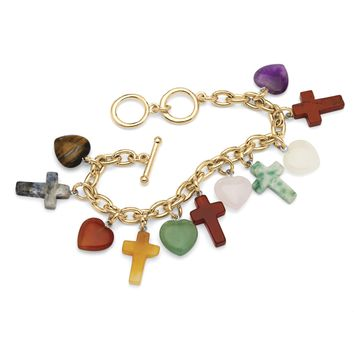 Multi-Colored Jade Heart and Cross Charm Bracelet in Yellow Gold Tone