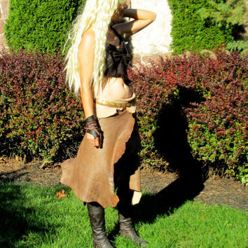 Dothraki Khaleesi Costume - Daenerys Targaryen, Mother of Dragons Game of Thrones Cosplay Masquerade Halloween Leather Complete PungoPungo