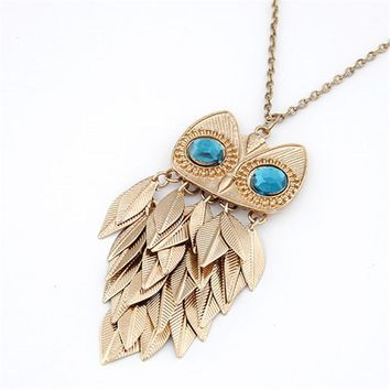 Fashion Long Owl Necklace for Women Vintage Gold Crystal Leaf Owl Statement Necklaces Pendants Collares kolye Jewelry