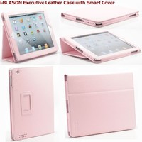 i-BLASON iPad 2 New iPad 3 Leather Smart Case Cover Stand with Auto On Off  (Fit New iPad 3 2012 3rd Generation) (Pink)