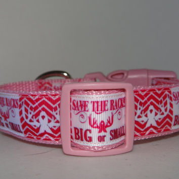 Dog Collar  *Breast Cancer Awareness* SAVE the RACKS* Adjustable Buckle  OR Martingale Collar**