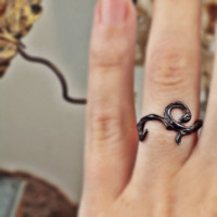 $60.00 oxidized sterling silver ring flourish tattoo by RandPapeleJewelry