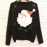 Pullover Knit Tops Winter Christmas Print Long Sleeve Round-neck Sweater [22466363418]
