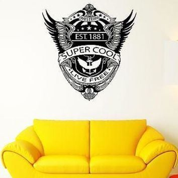 Wall Decal Western Eagle Wings Anchor America Flag Mural Vinyl Stickers Unique Gift (ed054)