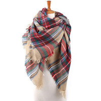 Winter Womens Red and Green Blanket Scarf