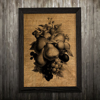 Food poster Fruit art Kitchen print Burlap print BLP680