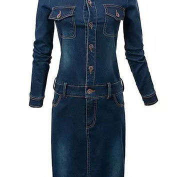 Navy Blue Faded Stand Collar Long Sleeve Pencil Cut Denim Dress