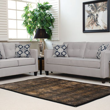 Serta Upholstery Elizabeth Silver Sofa And Loveseat