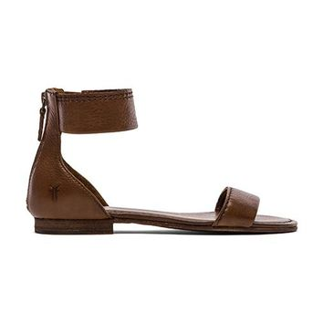 Frye Carson Ankle Zip Sandal In Brown From Revolve