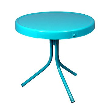 Outdoor Retro Metal Tulip Side Table  Turquoise Blue