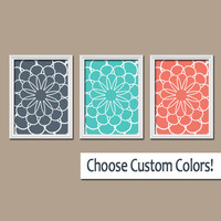 Flowers Dahlia Flourish Floral Navy Turquoise Coral Tones Pattern Artwork Set of 3 Trio Prints Bedroom Bathroom WALL Decor Abstract ART
