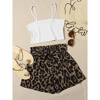 Crop Cami Top & Leopard Print Belted Shorts