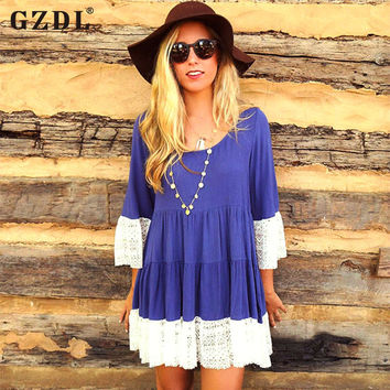 GZDL Women Ladies Summer Dresses 3/4 Sleeve Lace Crochet Casual Loose Flared A-line Boho Mini Dress Vestidos De Fiesta CL2546