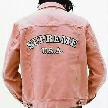 Supreme Fashion Edgy Letter Print Buttons Denim Cardigan Jacket Coat