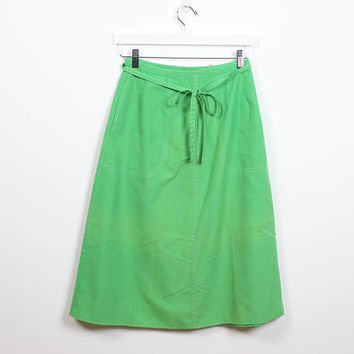 Vintage 1970s Skirt Kelly Green White Contrast Stitching Wrap Skirt A Line Skirt 70s Skirt Hippie Classic Preppy Midi Knee Length Skirt S M