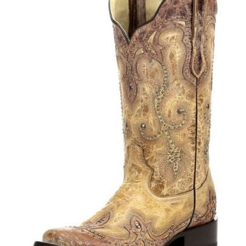 Corral Overlay Square Toe Tan Boots G1212