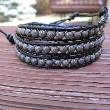 Black Stardust Gunmetal Triple Wrap Beaded Leather Wrap Bracelet - Chan Luu Style