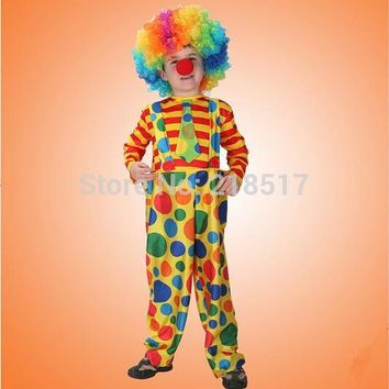 Children Kids Naughty Clown dress Circus Costumes cosplay performance clothes Clown suit for Halloween Party 110-140cm F-0950