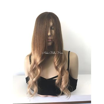 Ombre' Sand Balayage' Brunette Multi Directional Full Lace Wig